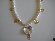 Bridal Jewelry Jewelry - Nataly Noama Pearl And Coin Swarovski Stone Necklace by Nataly Noama