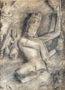 Ruins Drawings Metal Prints - Nataraja - Elephanta Caves Metal Print by Shreekant Plappally