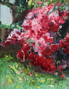 Azalea Bush Paintings - Natchez Azaleas by Sandy Lane