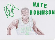 Boston Celtics Drawings Framed Prints - Nate Robinson Framed Print by Toni Jaso
