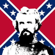 Rebel Digital Art Framed Prints - Nathan Bedford Forrest and The Rebel Flag Framed Print by War Is Hell Store