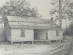 Historical Buildings Drawings Prints - Nathan Bryans Stagecoach Inn and Bank near Marshallville Print by Edna Garrett