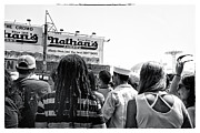 Parachute Jump Prints - Nathans Crowd in Coney Island 2 Print by Madeline Ellis