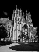 Black And White Digital Art Posters - National Cathedral Poster by Joe Hickson