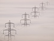 Grid Posters - National Grid Pylons In The Mist Poster by Adrian Bicker