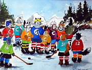 Hockey Painting Originals - National Housecat  League by Wilfred McOstrich