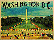 Washington D.c. Digital Art Posters - National Mall Washington D.C. Poster by Vintage Poster Designs