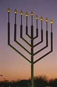 Judaic Framed Prints - National Menorah, Elipse, Washington Framed Print by Richard Nowitz