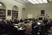 Cabinet Room Framed Prints - National Security Council Meeting Framed Print by Everett