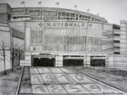 Juliana Dube Drawings Posters - Nationals Park Poster by Juliana Dube