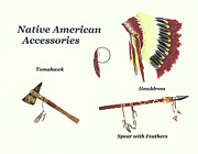 Native American Watercolor Paintings - Native American Accessories by Michael Vigliotti