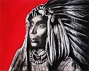 Black Pastels Framed Prints - Native American Framed Print by Anastasis  Anastasi