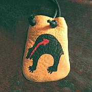 Landmarks Jewelry Originals - Native American Bear Leather Medicine Bag by Paula Bidwell