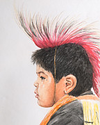 Indian Pastels Prints - Native American Boy with Headdress Print by Kate Sumners