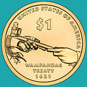 Wampanoag Prints - Native American Coin Print by Paul Ward