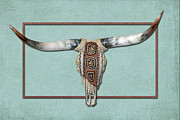 Steer Mixed Media - Native American Cow Skull by Rene Gibson