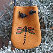 Landmarks Jewelry Originals - Native American Dragonfly Handmade Leather Medicine Bag Pouch by Paula Bidwell