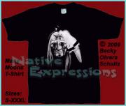 American Indian Tapestries - Textiles - Native American Face Mask Manny Moons T-Shirt by Becky Olvera Schultz