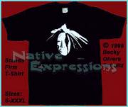 American Indian Tapestries - Textiles - Native American Face Mask Stands Firm T-Shirt by Becky Olvera Schultz