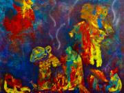 Abstract Bull Originals - Native American Fire Spirits by Claire Bull