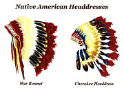 Native American Watercolor Paintings - Native American Headdresses by Michael Vigliotti