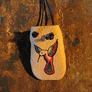 Landmarks Jewelry Originals - Native American Humming Bird Leather Handmade Medicine Bag  by Paula Bidwell