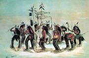Men Shoe Posters - Native American Indian Snow-shoe Dance Poster by Photo Researchers