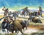 Charging Horses Prints - Native American Indians killing American Bison Print by Ron Embleton