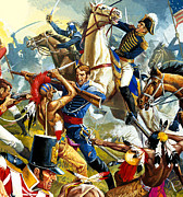 American Revolution Paintings - Native American Indians vs American Soldiers by Severino Baraldi