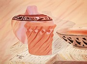 Pottery Paintings - Native American Pottery by Alanna Hug-McAnnally