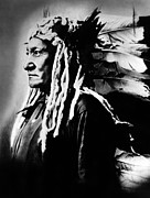 1880s Prints - Native American Sioux Chief Sitting Print by Everett