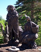 Native American Sculptures Prints - Native American Statue Print by Chalet Roome-Rigdon