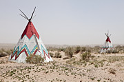 Scrub Brush Framed Prints - Native American Tipi Replicas Framed Print by Paul Edmondson