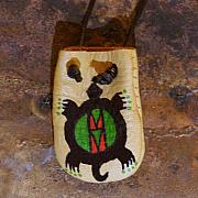 Landmarks Jewelry Originals - Native American Turtle Medicine Bag Leather Pouch by Paula Bidwell
