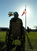 Grace Dillon Prints - Native American Veteran in Wheel Chair Print by Grace Dillon