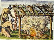 Timucua Framed Prints - Native Americans: Barbecue, 1591 Framed Print by Granger