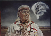 Framed Pastels Originals - Native Americans by Nanybel Salazar
