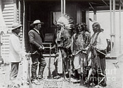 Oglala Lakota Art Prints - Native Americans Talking To American Print by Photo Researchers