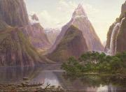 Grb Painting Posters - Native figures in a canoe at Milford Sound Poster by Eugen von Guerard