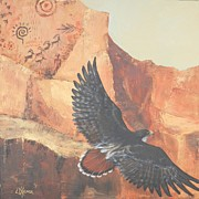 Red Tail Hawk Paintings - Native Flight by Lorraine Kilmer