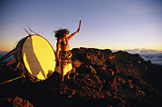 Scenic Overlooks Posters - Native Hawaiian Man Stands Next Poster by Mark Cosslett