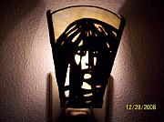 Landmarks Glass Art Originals - Native lite by Julie Quick-Alcorn