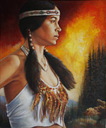 Native American Woman Prints - Native Pride Print by Harvie Brown