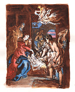 Sepia Ink Drawings - Nativity after Rubens by Walter Mosley
