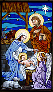Stained Glass Tapestries - Textiles - Nativity at Valley Ranch by Joan Garcia