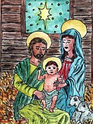Christmas Eve Paintings - Nativity by Bryana  Joy
