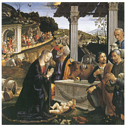 Religious Art Paintings - Nativity by Domenico Ghirlandaio
