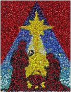 Religious Mosaic Mixed Media Prints - Nativity MM Candy Mosaic Print by Paul Van Scott