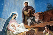 Shepherds Posters - Nativity Painting at Shepherds Fields Poster by Munir Alawi