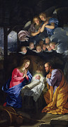 Virgin Mary Acrylic Prints - Nativity Acrylic Print by Philippe de Champaigne